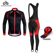 Men Cycling Bib Tights Set  Winter Bike Jacket Thermal Padded Pants Long Trouser