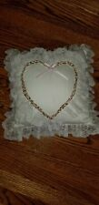 Square with floral applique heart and lace edging decorative throw pillow - Mint