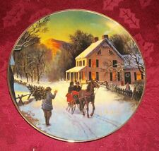 "Avon Christmas Plate ""Home For the Holidays"" -22k Gold Trim 1988, 8""D"
