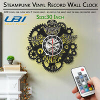 3D  Steampunk LED Record Wall Clock Owl Gears and Cogs Wall Clock Mechanical