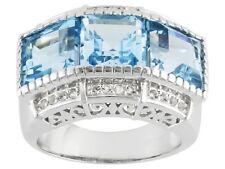Size 8 - 9.20ctw Square Glacier Blue Topaz & Round White Topaz Sterling Ring