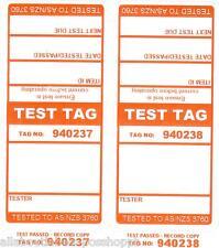 250 x ORANGE Premium Electrical Adhesive Test Tag Labels