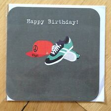 Happy Birthday Greetings Card *NEW* Baseball Cap Shoes Trainers Boy Men (136)
