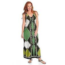 NEW - One World Matte Jersey Sleeveless Bling Shoulder Smocked Maxi Dress 1X