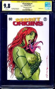 Secret Origins #1 BLANK CGC SS 9.8 signed POISON IVY PAINTED SKETCH Levend Canga