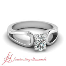 3/4 Ct Cushion Cut:Ideal Diamond Solitaire Engagement Rings For Women White Gold