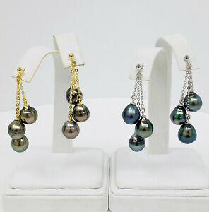 Dark Tahitian Pearls Dangle Earrings 9mm Multi-Colored Drop-Baroque S/Silver 925
