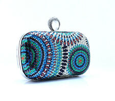 WOMENS SEQUIN CLUTCH BAG FORMAL WEDDING PARTY - SILVER BLUE GREEN PINK ORANGE