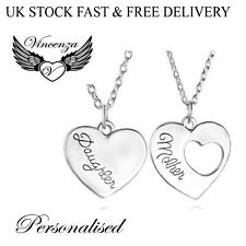 Necklace Silver Plated Vincenza Gift Uk Personalised Heart x2 Style Pendant Name