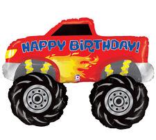 Red Happy Birthday Monster 4x4 Big Wheels Jam Truck Race Birthday Party Balloon