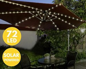 72 LED Solar Parasol Light – Garden Patio Table Umbrella Fairy Light – Outdoor