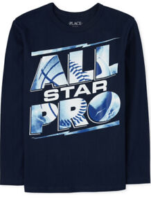 The Children's Place Boys Size X Large 14 ALL STAR Long Sleeve Graphic Tee