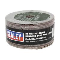Genuine SEALEY FBD10036 | Sanding Disc Fibre Backed Ø100mm 36Grit Pack of 25