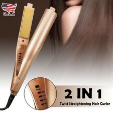 2 In 1 Twist Straightening Iron Pro Hair Curling Iron Waver Wave Curler Tool New