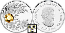 2012 Prf $3 Nov (Topaz) Birthstone Crystalized Silver Coin .9999 Fine (12973 NT!