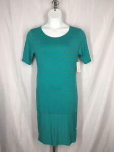 Lularoe Julia Stripe Dress Size Large Green Gray Stretch New