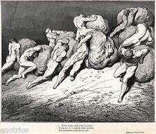 INFERNO: PUNIZIONE PER AVARI E PRODIGHI. Gustave Doré.Dante.Divina Commedia.1880
