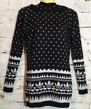 Adidas Women's Black White Knit Hoodie Sweater Size S