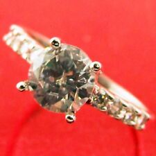RING 18K WHITE G/F GOLD DIAMOND SIMULATED ANTIQUE ENGAGEMENT DESIGN FS3AN425