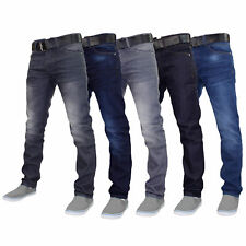 Mens Denim Jeans Crosshatch Wayne Coated Slim Fit FREE BELT Straight Leg Pants