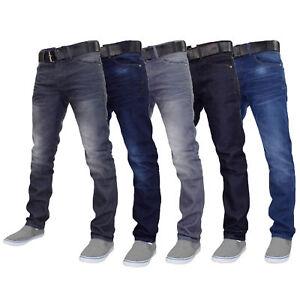 Mens Denim Jeans Crosshatch Wayne Coated Slim Fit FREE BELT Straight Leg Pants
