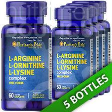 L-Arginine L-Ornithine L-Lysine Tri Amino Acids 5X60 Caps Puritan's Pride