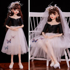 1/3 60cm BJD Doll with Changeable Eyes Wigs Clothes Full Set Outfit Elegant Girl