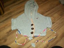 Hollister Grey Hoodie Cardigan Half Sweater Top Womens Junior XS