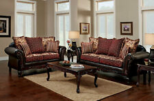 NEW Traditional Living Room 2 piece Wood Trim Brown Burgundy Fabric Sofa Set GDD