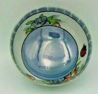 Blue Lusterware Porcelain Bowl Japan Made c 1924 Sugar Bowl Footed Roses Floral