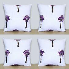 Purple Palm Tree 4 Pcs Indian Hand Block 16x16 Cotton Pillow Case Cushion Covers