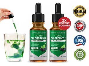 Liquid Chlorophyll Water Drops Maximum Strength 6000MG Green Micronutrients 2 PK
