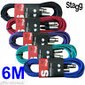 Stagg 6M XLR Male to Female Coloured Microphone Lead & Audio Signal DJ Cables