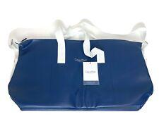 CALVIN KLEIN fragrances Blue gray faux leather duffle bag travel gym Weekend