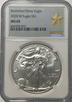 2020 W $1 NGC MS69 BURNISHED SILVER AMERICAN EAGLE .999 FINE SILVER STAR LABEL