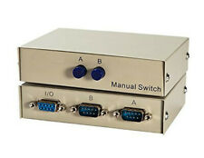 1x2 or 2x1 - 2-Port AB Manual Sharing DB9 RS232 Serial Switch 2-Way Selector Box