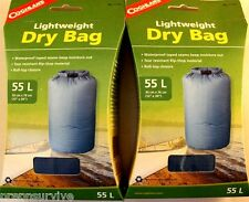 2 PK 55 L LIGHTWEIGHT DRY BAG WATERPROOF SEAMS,RIP STOP ROLL-TOP CLOSURE BLUE