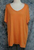 J Jill Love Linen Womens 2X Orange Short Sleeve Boxy T Shirt Top