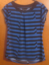 Women's blue with black stripe Worthington short sleeved blouse size M