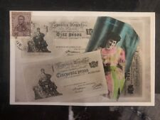 1909 Buenos Aires Argentina Stamp on Stamp Postcard Cover 50 Pesos Bill