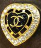 Chanel Button black Heart rhinestones Larger 26mm