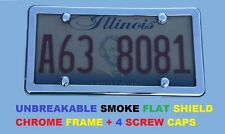 UNBREAKABLE Flat Smoke License Plate Shield & CHROME Frame for FORD