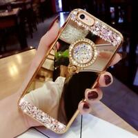 Bling Diamond Crystal Ring Case Holder Kickstand Mirror For iphone Samsung
