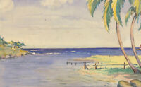 M. Knollys - Signed  Mid 20th Century Watercolour, Tropical Paradise