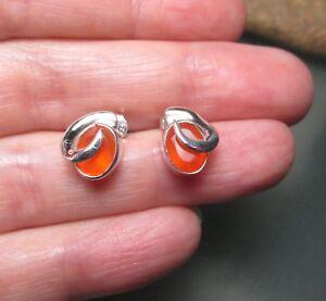 925 sterling silver cute cut orange CARNELIAN stud earrings. Gift bag.