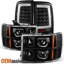 Fit 2007-2013 GMC Sierra Black LED Halo Projector Headlights + LED Tail Lights
