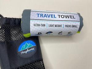 "Youphoria Outdoors Microfiber Quick Dry Travel Towel - Gray/Green 20"" x 40"""
