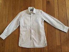 PURPLE LABEL by RALPH LAUREN Blue/White Stripe Dress Shirt 15 Made In Italy