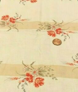 "Orange&White Flowers*Sage Green Leaves/Striped Cream&Tan*Moda*100% Cotton 21""x8"""
