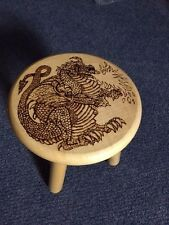 Pyrograved hand crafted and Varnished Dragon Stool - 9 inch high- across 9 inch